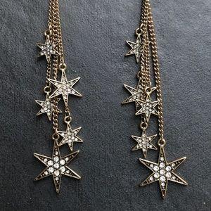 "Long Falling Stars Earrings 4"" Drop Gold"